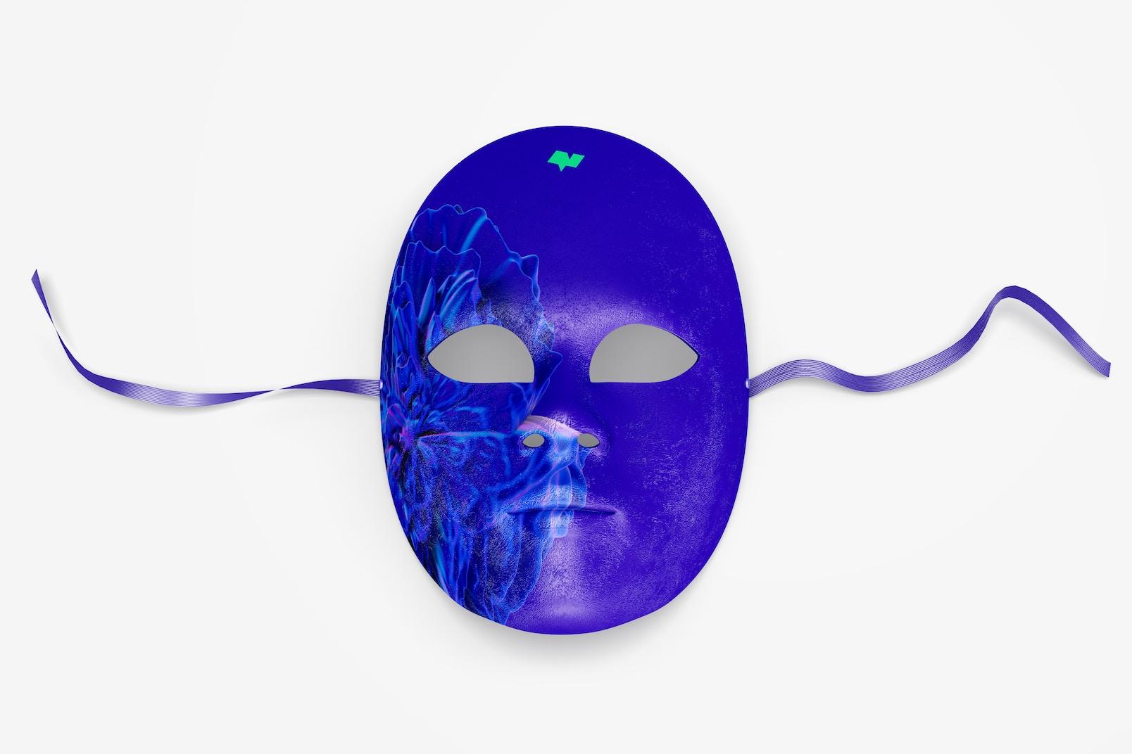 Plain Venetian Full-Face Mask Mockup, Top View