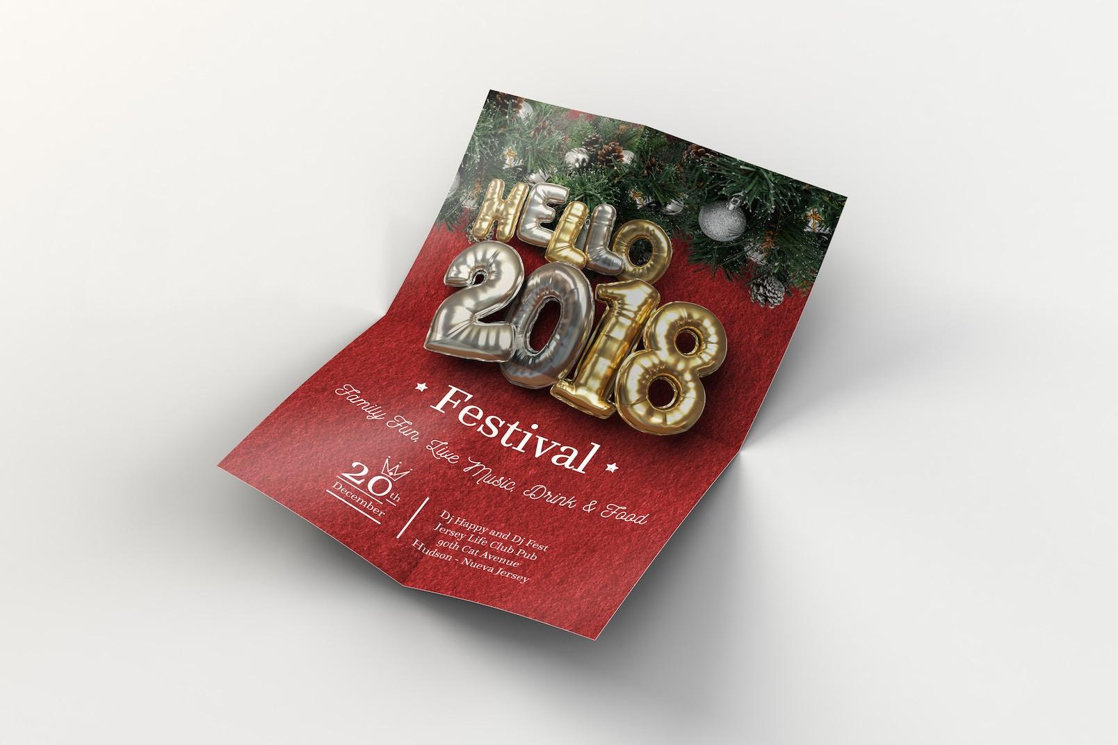 Balloon Party, Christmas Flyer Template 2