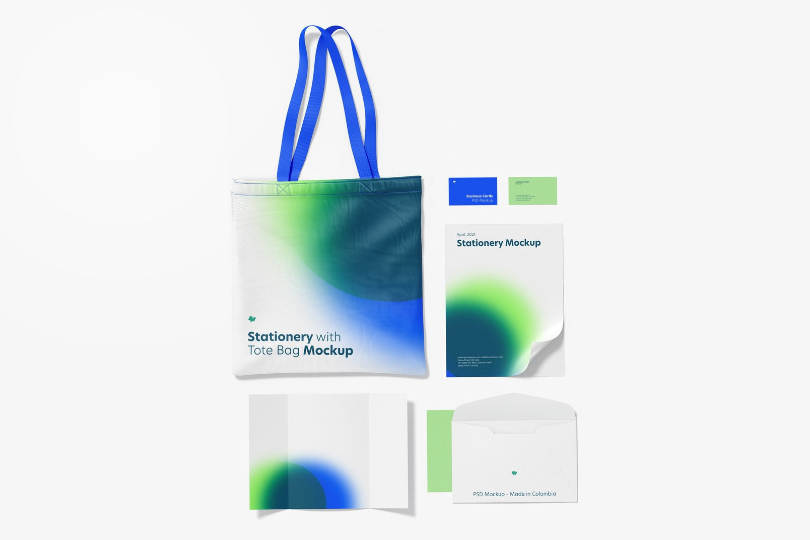 Stationery with Tote Bag Mockup, Top View