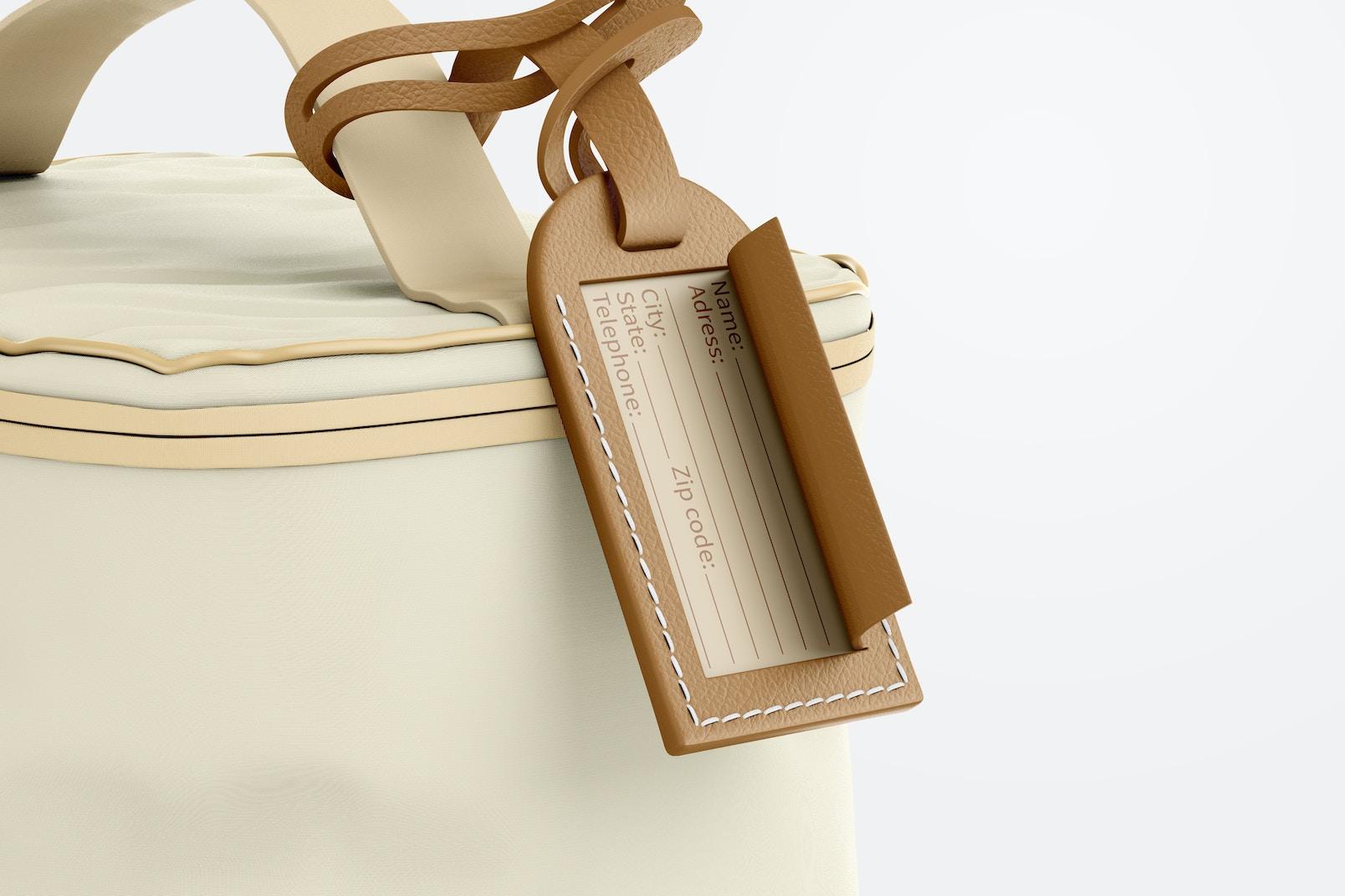 Leather ID Tag Mockup, on Bag