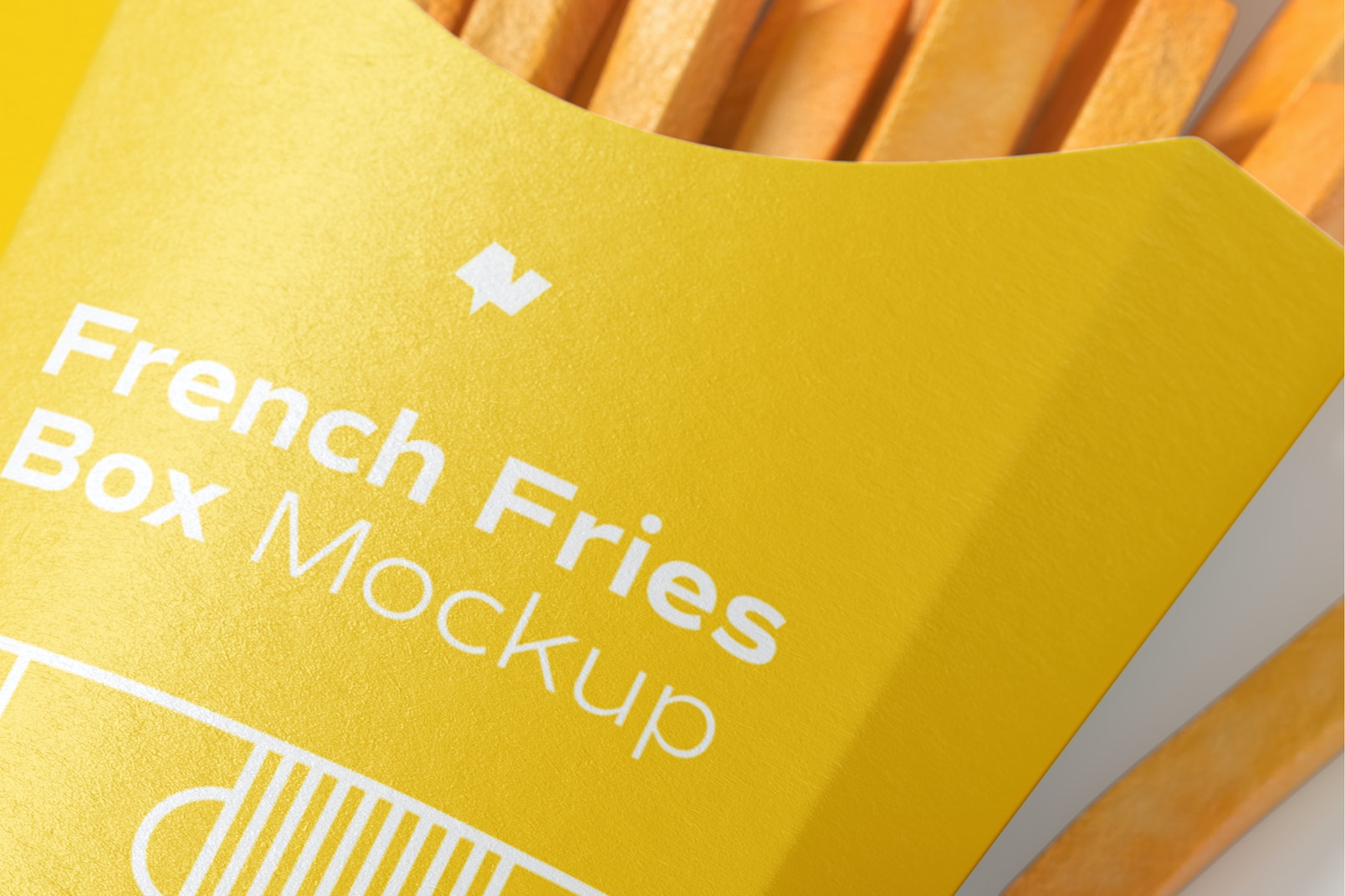 French Fries Box Mockup, Close Up