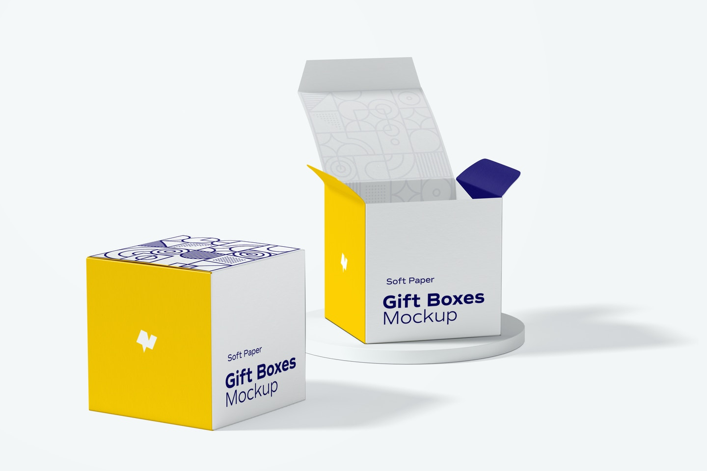 Soft Paper Gift Boxes Mockup, Left View