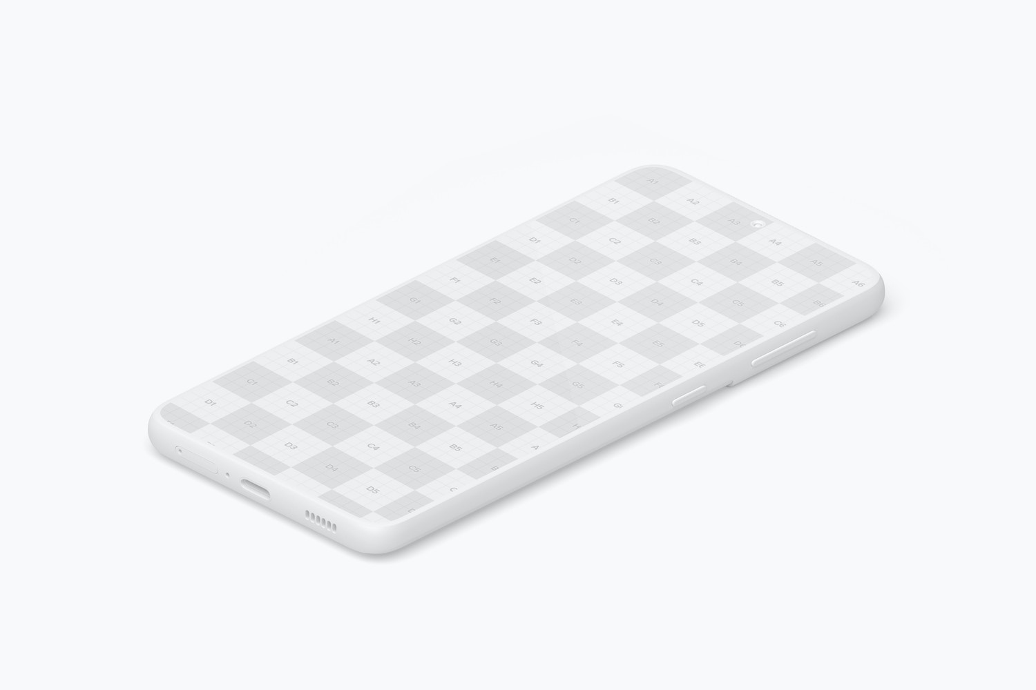 Isometric Clay Samsung S21 Mockup, Right View