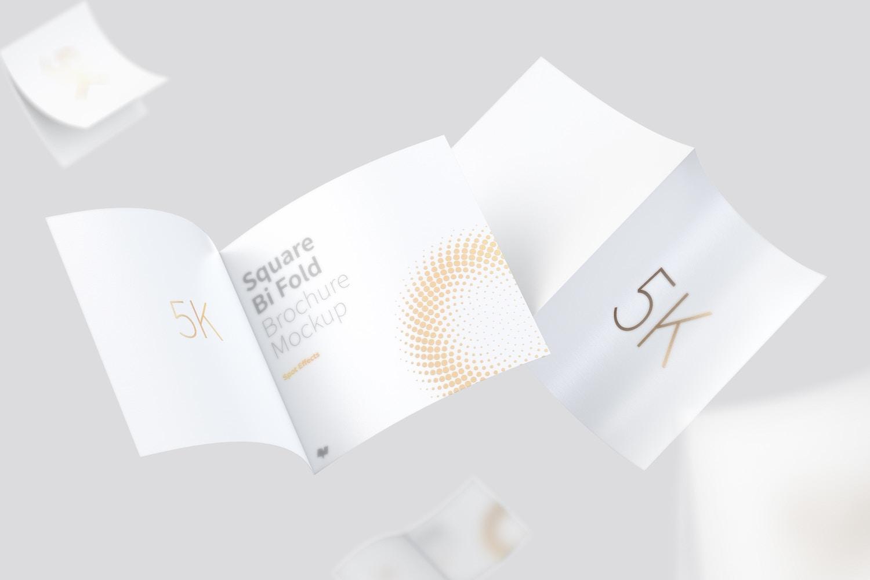 Square Bi Fold Brochure Mockup, Floating 5K (5) by Original Mockups on Original Mockups
