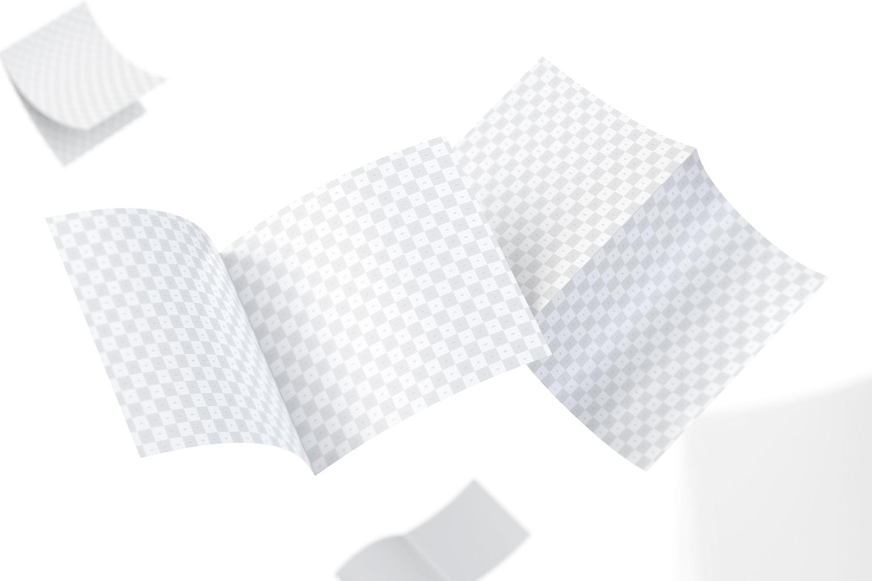 Square Bi Fold Brochure Mockup, Floating 5K (3) by Original Mockups on Original Mockups