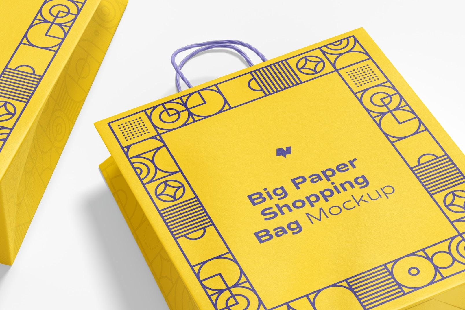 Big Paper Shopping Bags Mockup, Close Up