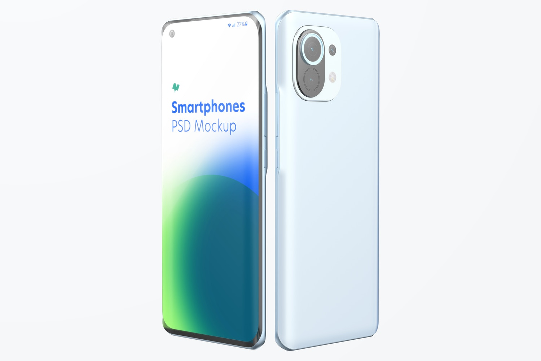 Xiaomi Smartphones Mockup, Perspective
