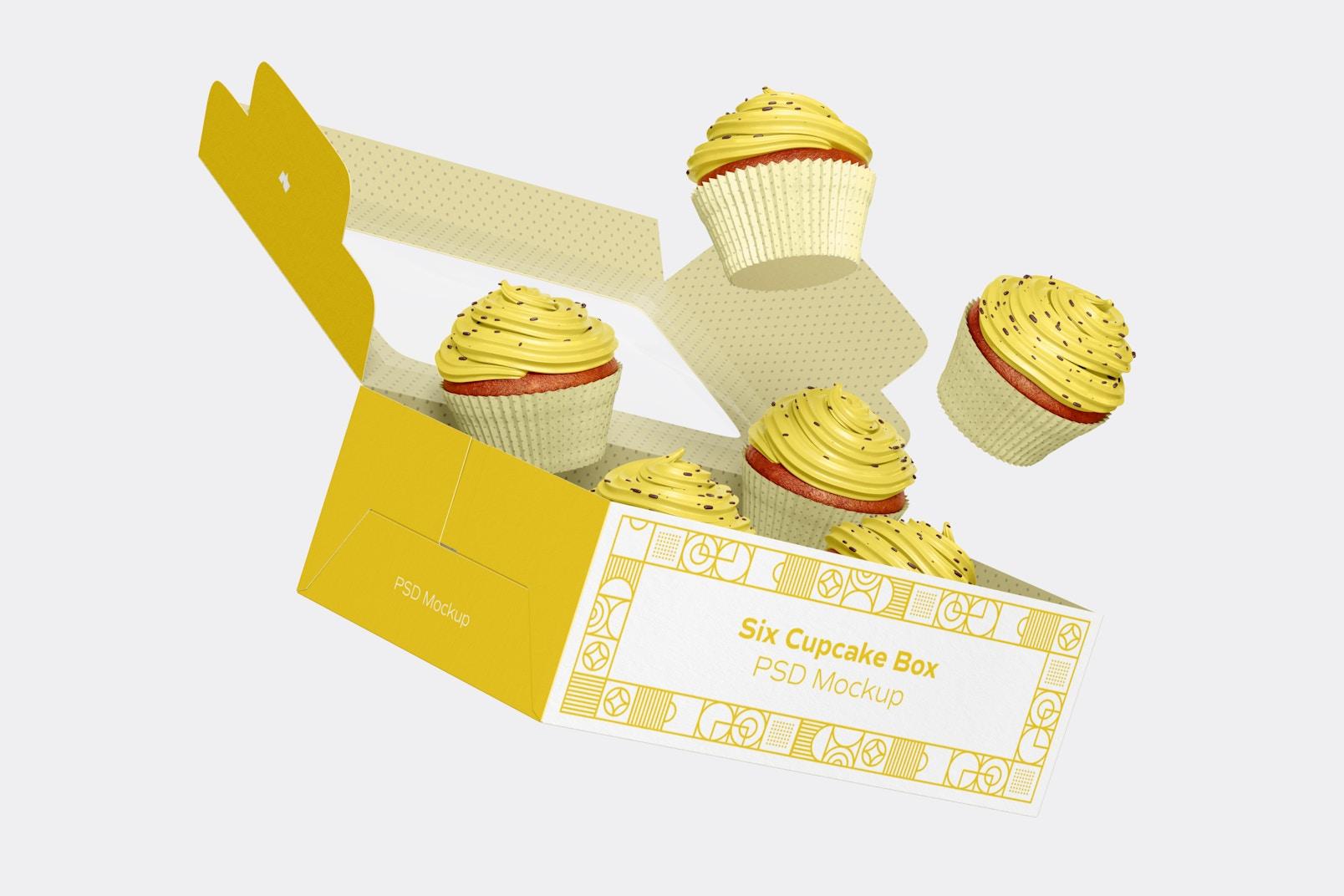 Six Cupcake Box Mockup, Falling