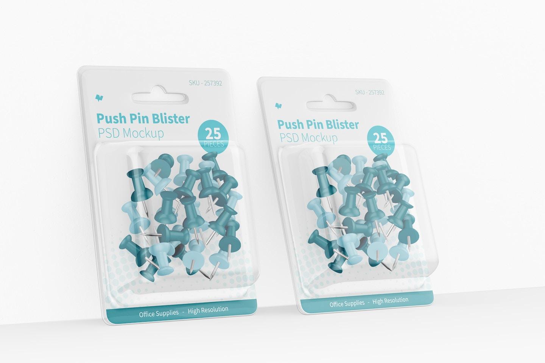 Push Pin Blister Mockup, Leaned