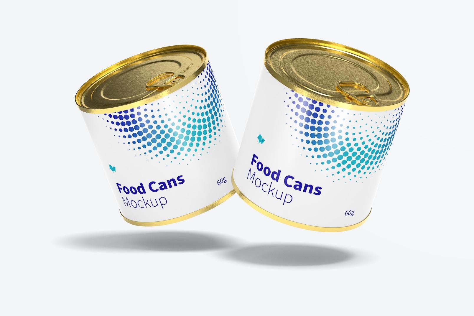 60g Food Cans Mockup, Floating