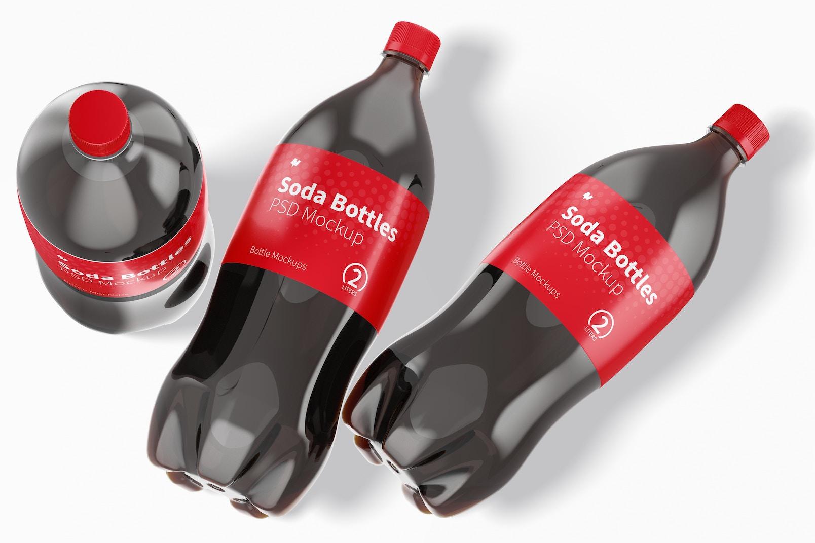 2L Coke Bottles Mockup, Top View