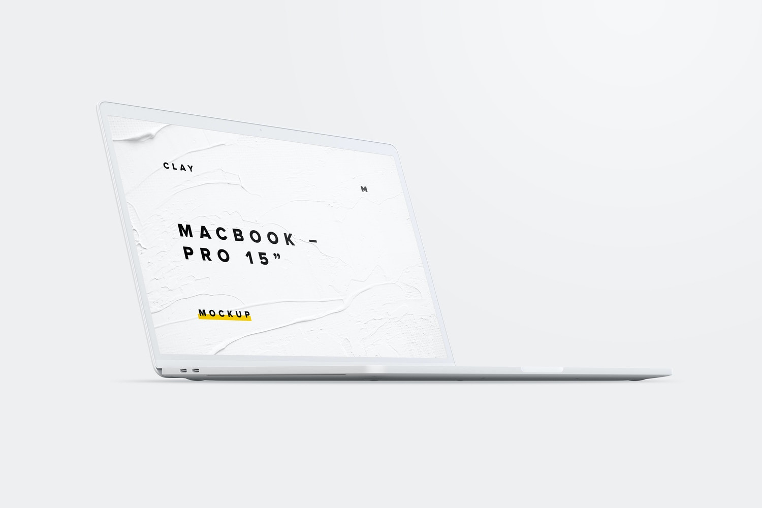 """Clay MacBook Pro 15"""" with Touch Bar, Front Left View Mockup"""