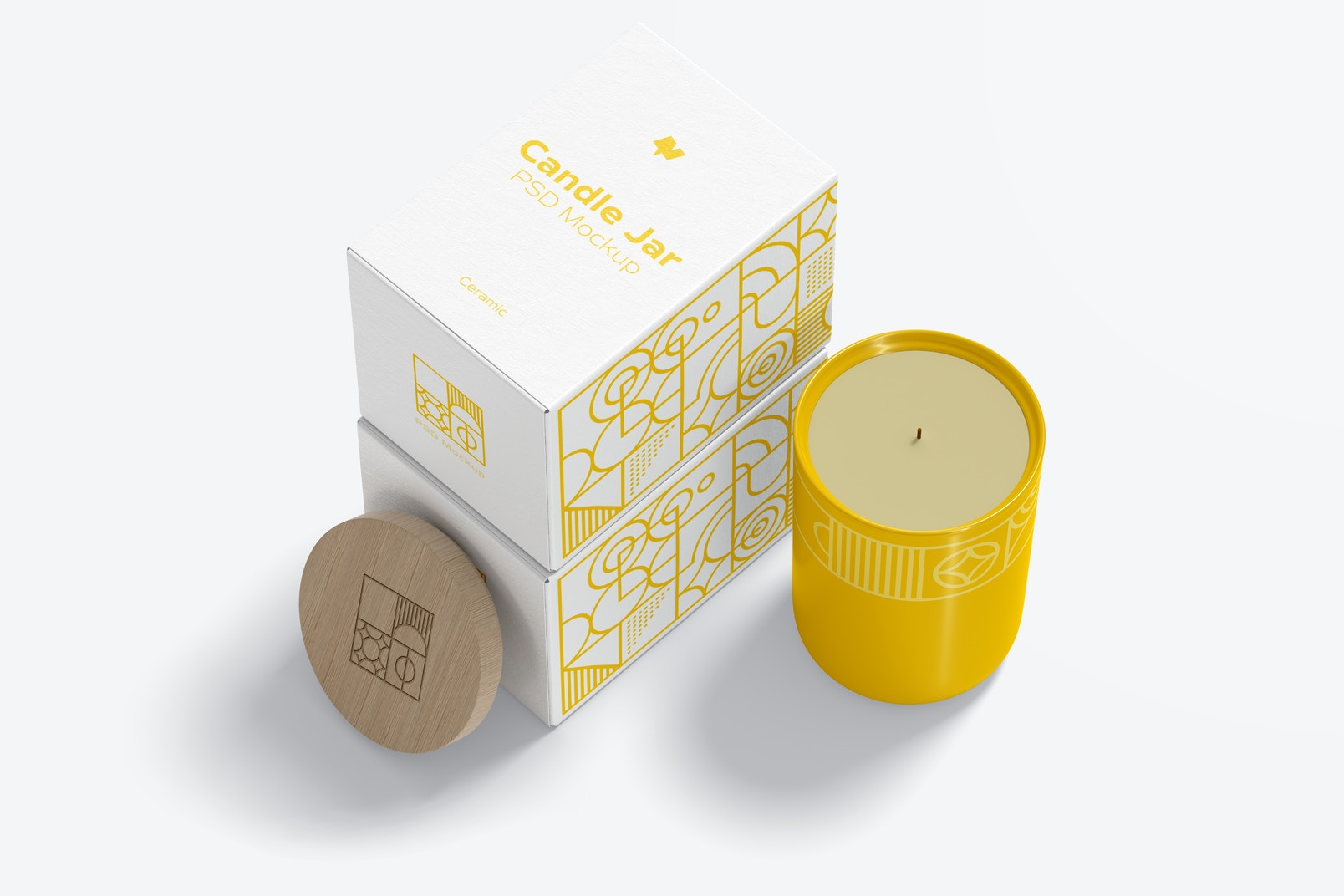 Ceramic Candle Jar with Boxes Mockup, Perspective View