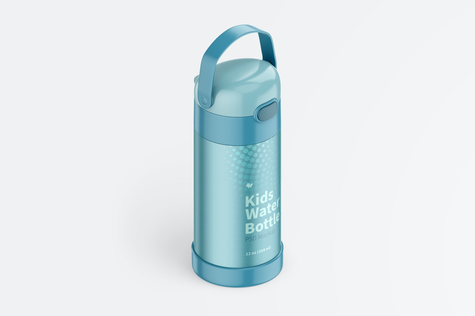 12 oz Kids Water Bottle Mockup, Isometric Right View