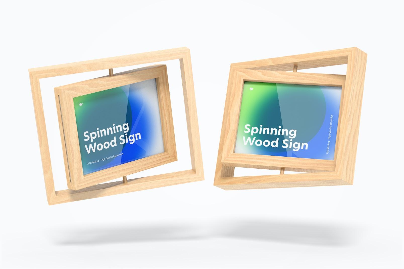 Spinning Wood Frame Signs Mockup, Floating