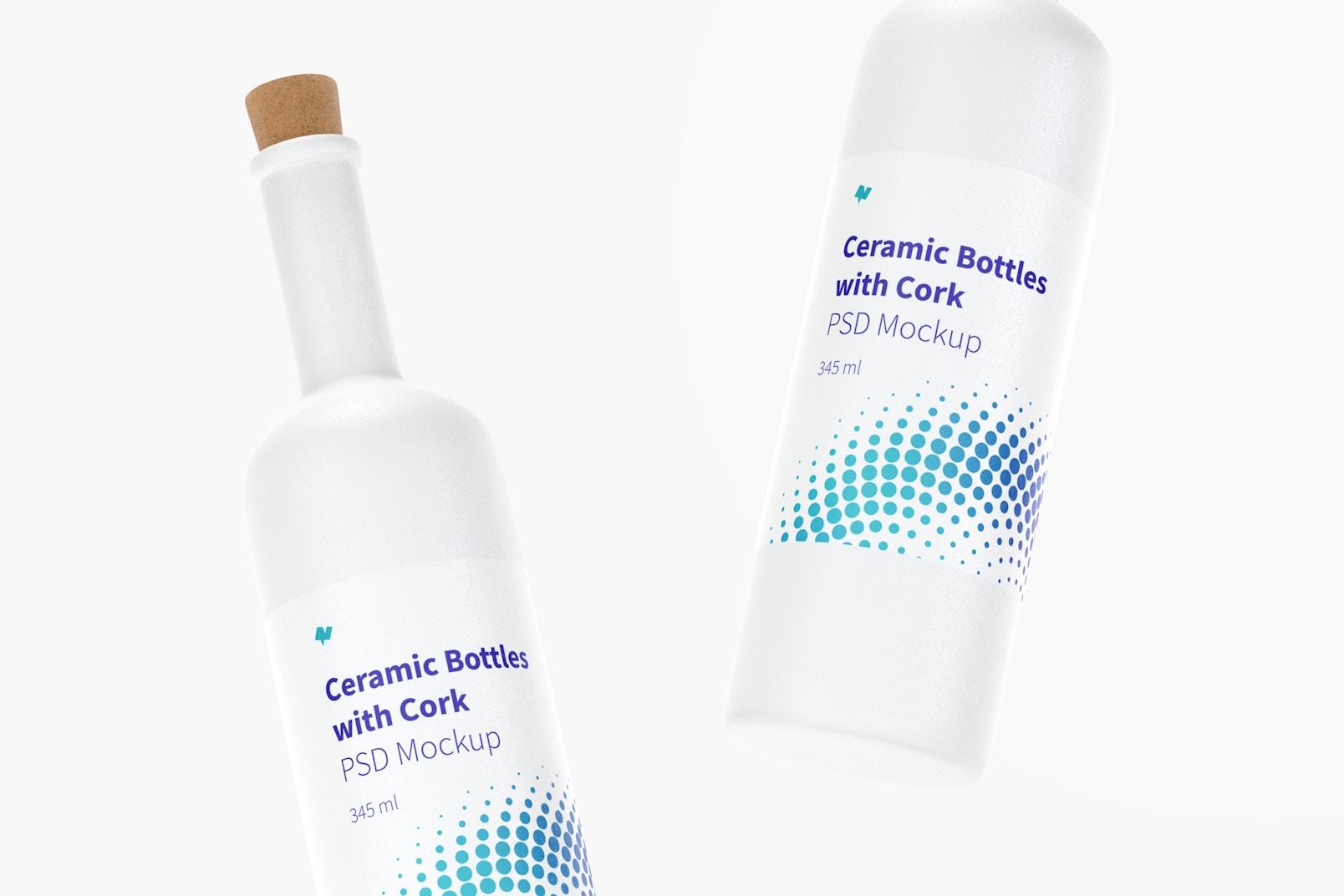 Maqueta de Botellas de Cerámica de Cuello Largo con Corcho, Flotando