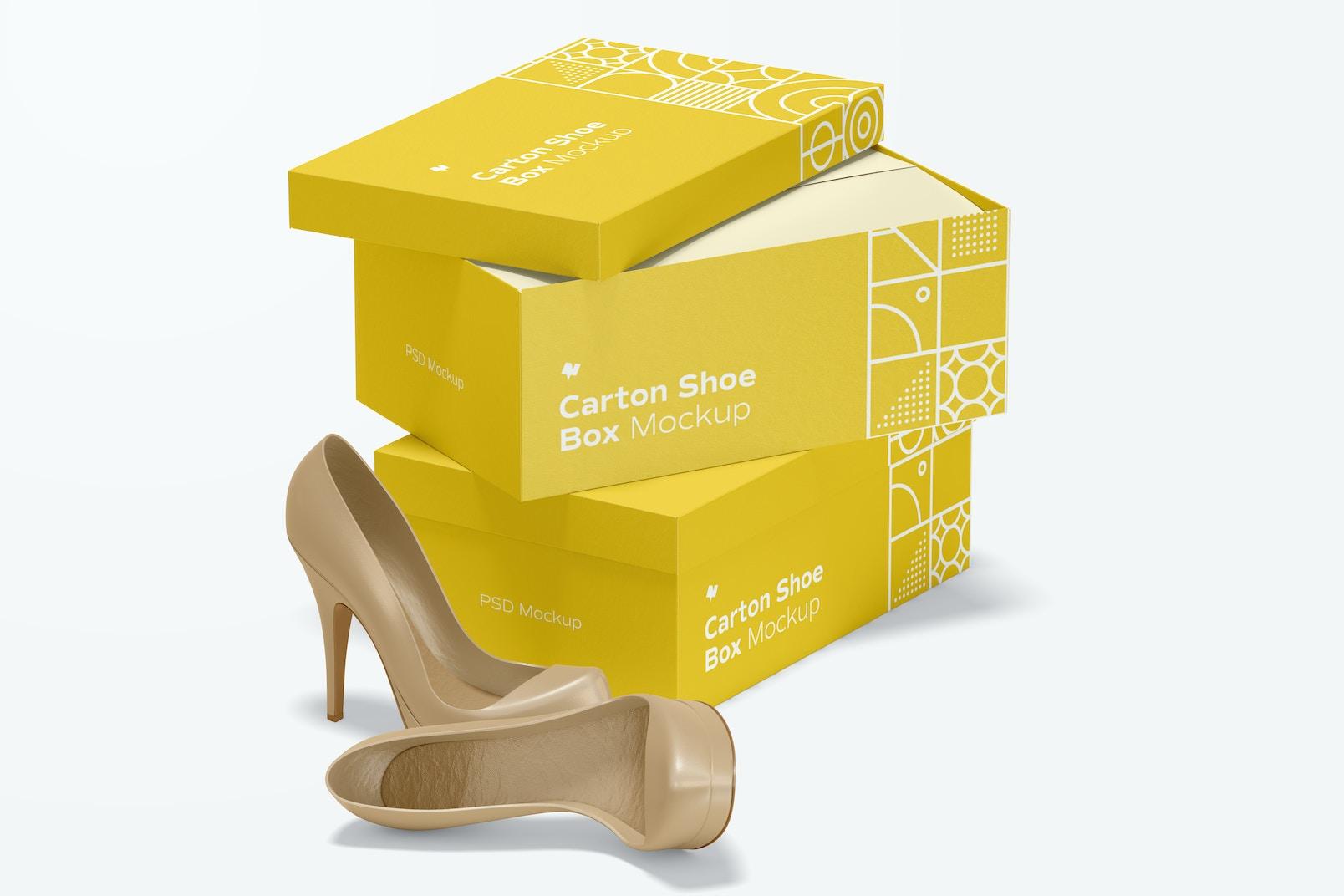Carton Shoe Boxes Mockup, Stacked