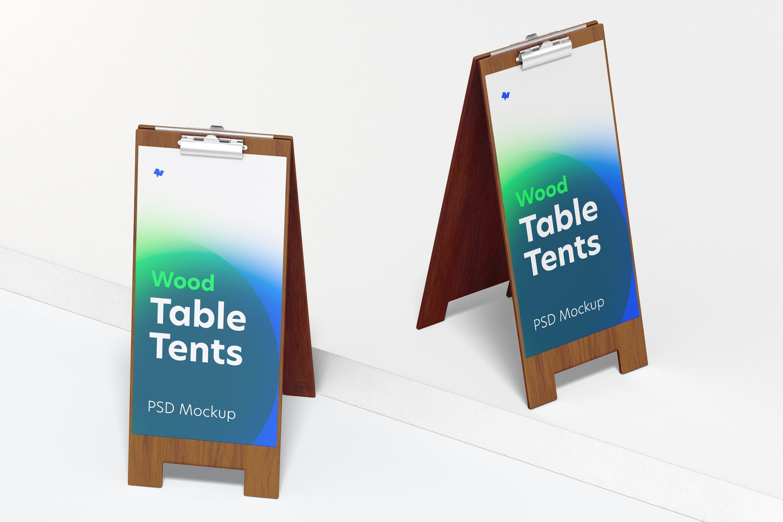 Wood Table Tents with Clip Mockup, Front View