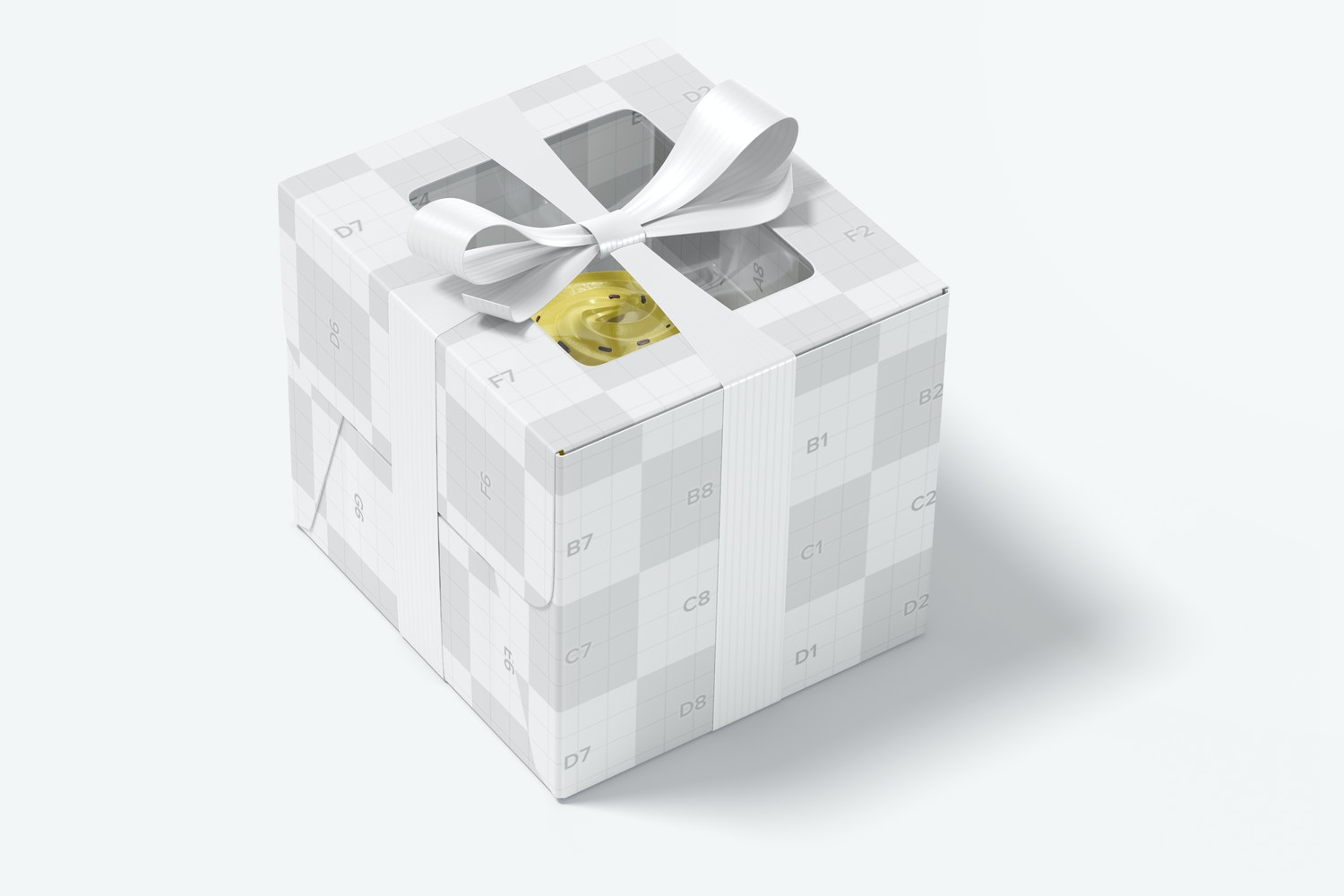 The box and the ribbon are customizable areas.