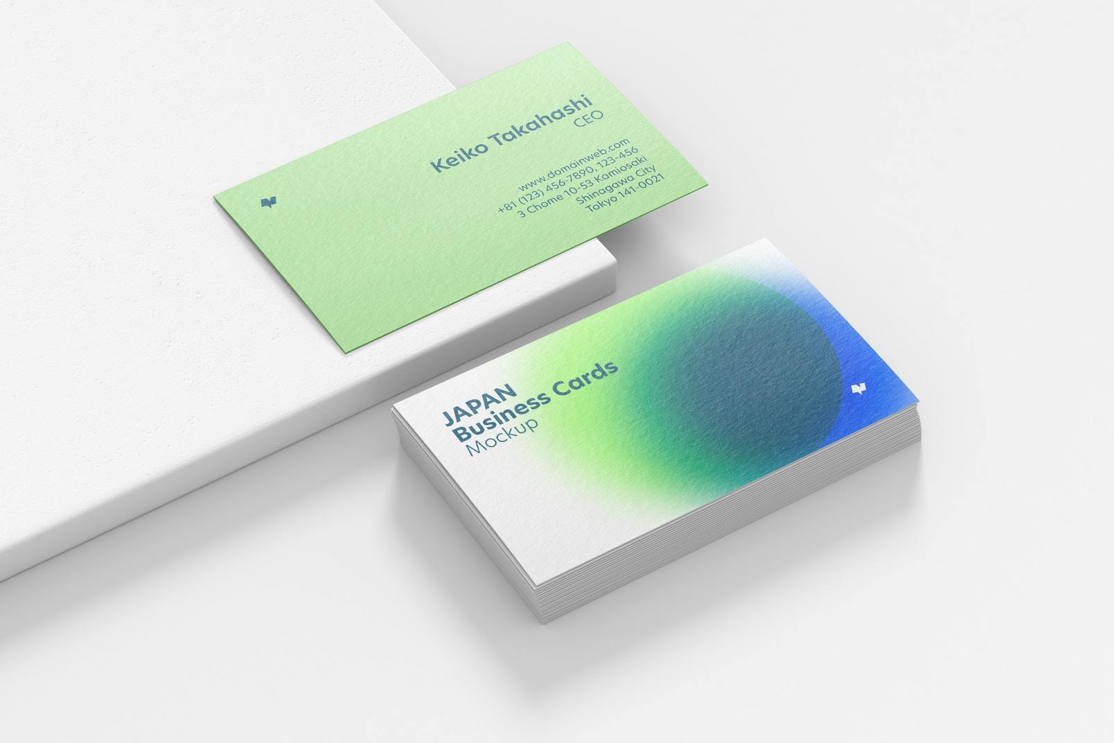 Japan Landscape Business Cards Mockup, Stacked Set