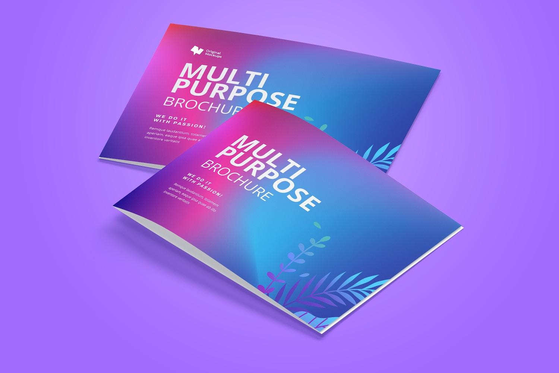 A4 Landscape Bi Fold Brochure Mockup 03