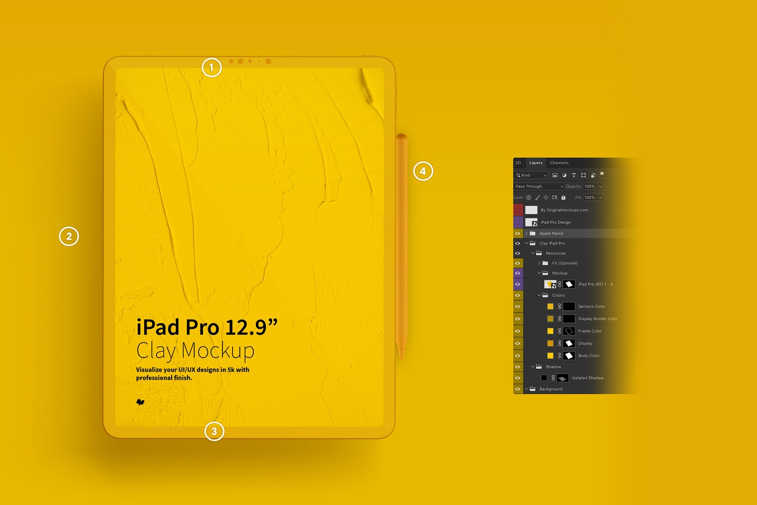 "Clay iPad Pro 12.9"" Mockup, Portrait Front View (7) by Original Mockups on Original Mockups"