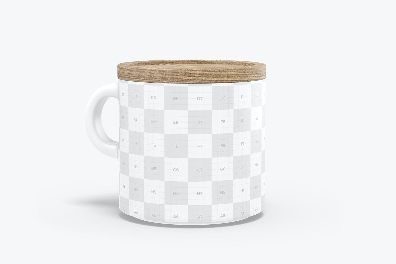 10 oz Ceramic Mug with Bamboo Lid Mockup