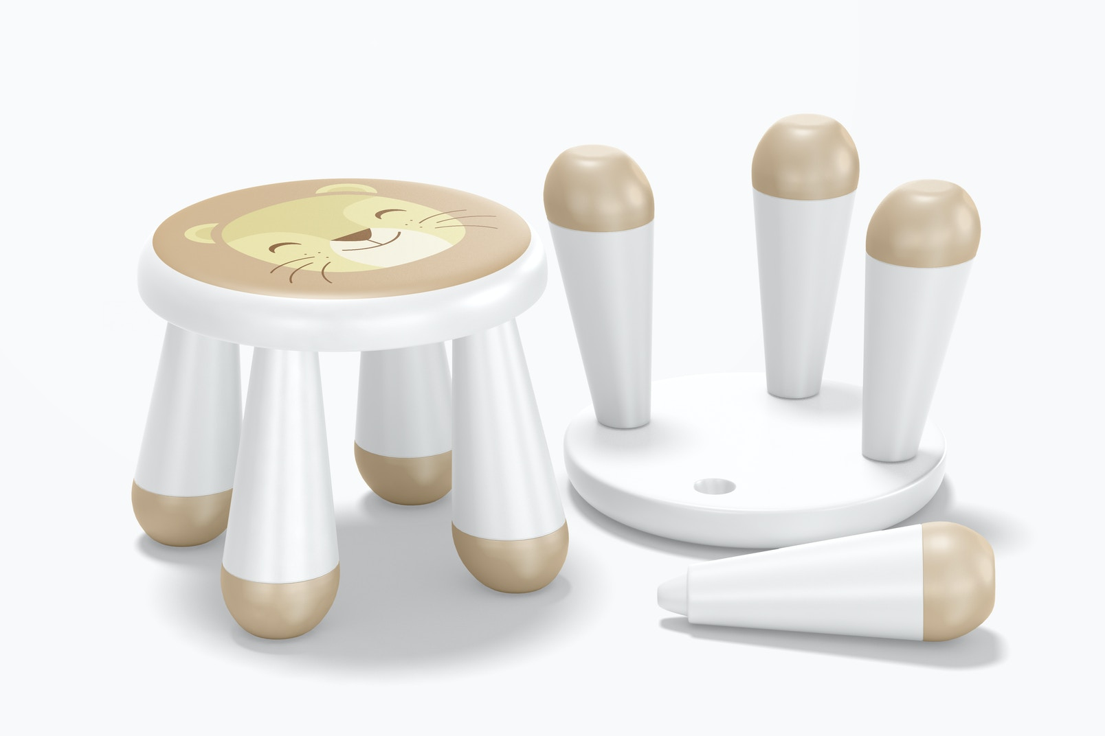 Kids Plastic Stool Mockup, Standing and Dropped 02
