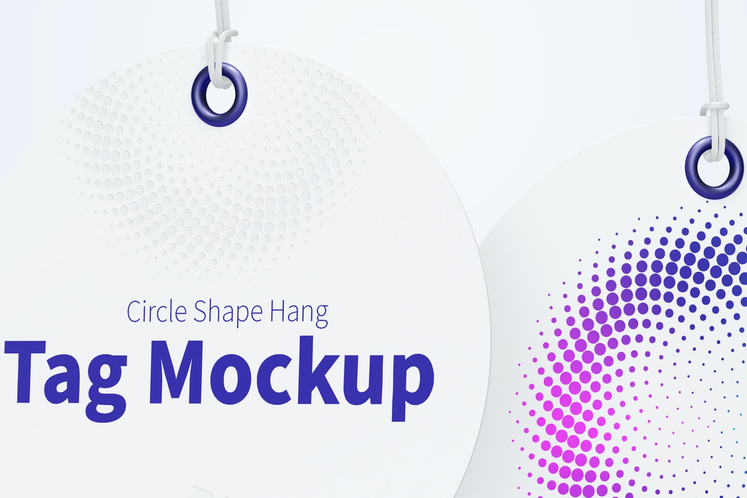 Circle Shape Hang Tags Mockup with String, Two-sided 02