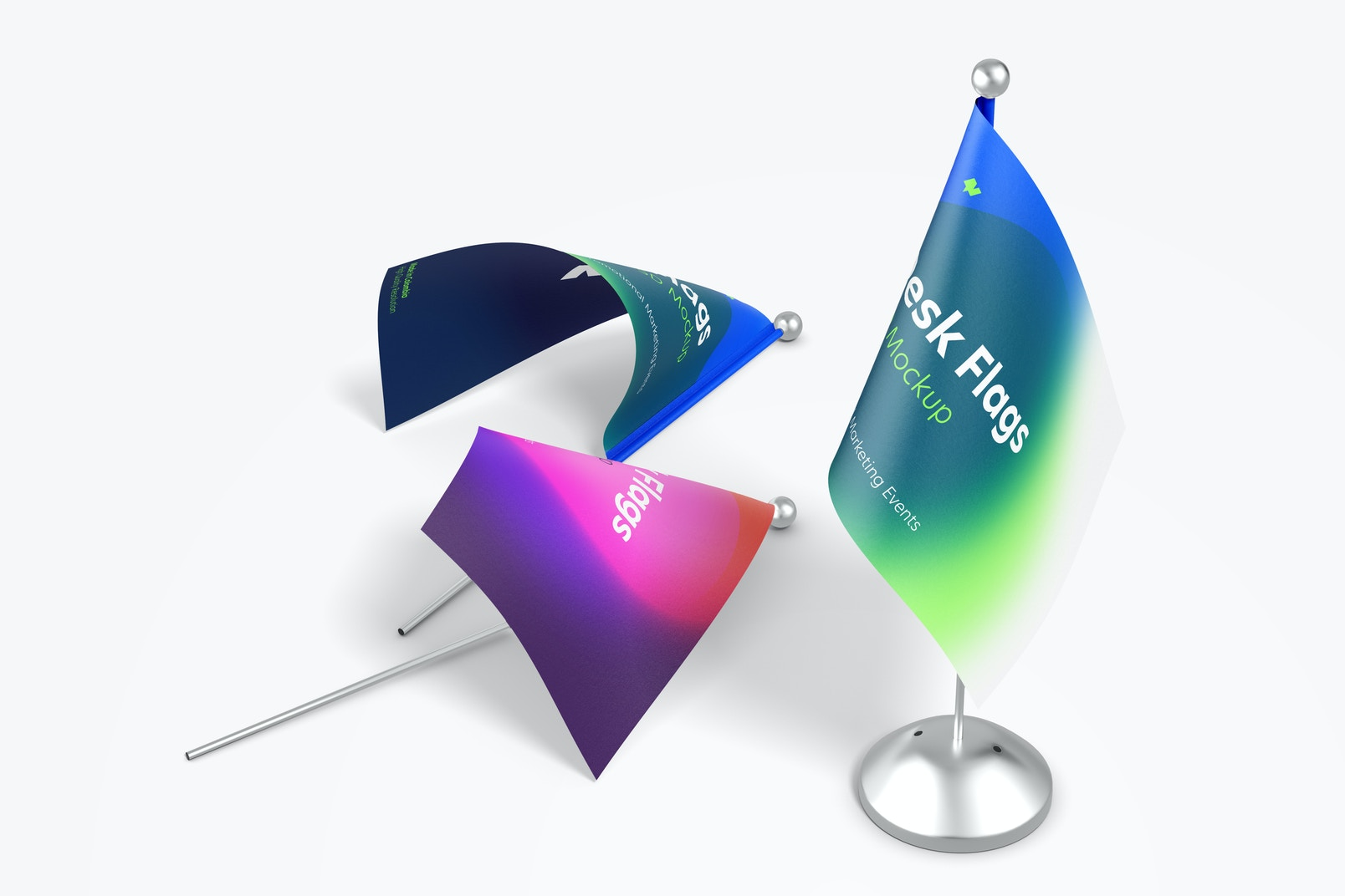 Desk Flags Mockup, Standing and Dropped