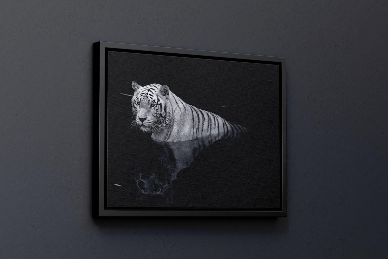 4:3 Landscape Canvas Mockup in Floater Frame, Left View