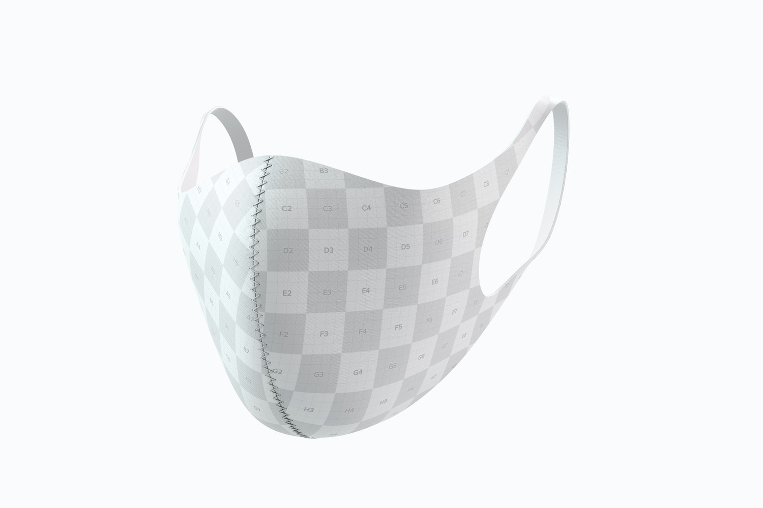 Neoprene Guard Face Mask Mockup, 3/4 Front Right View 02