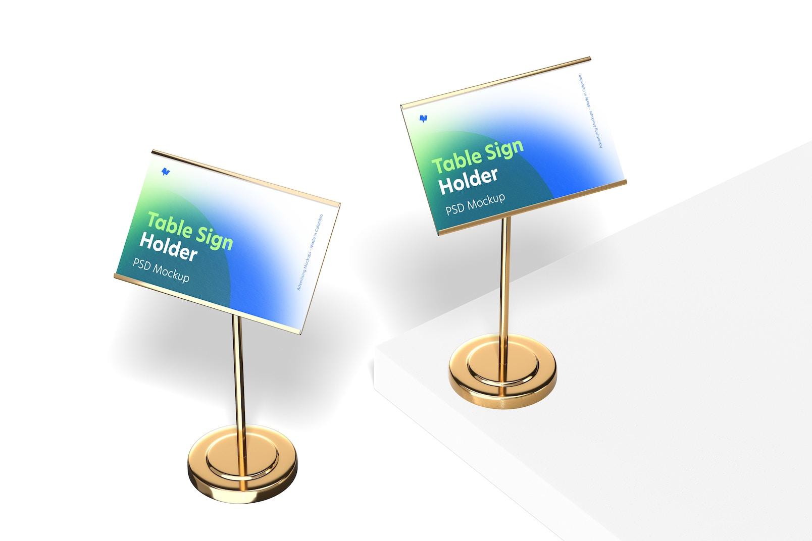 Table Sign Holders Metallic Base Mockup
