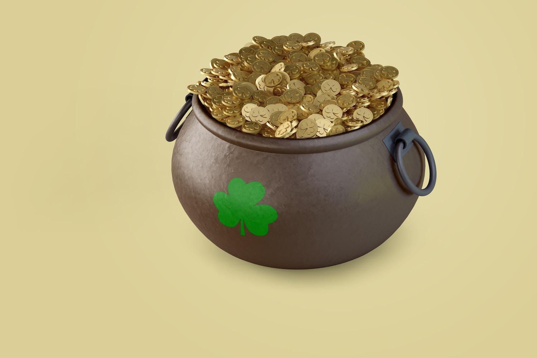 Saint Patrick's day Pot of Gold Mockup, Front View 02