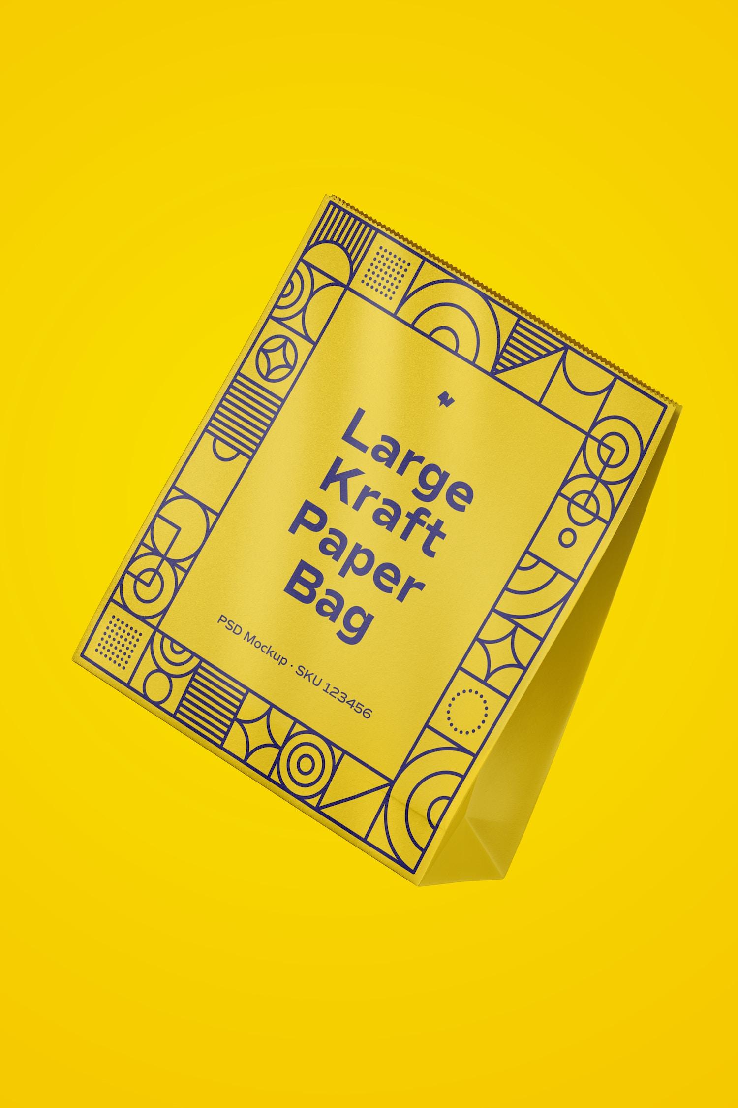 Large Kraft Paper Bag Mockup, Floating