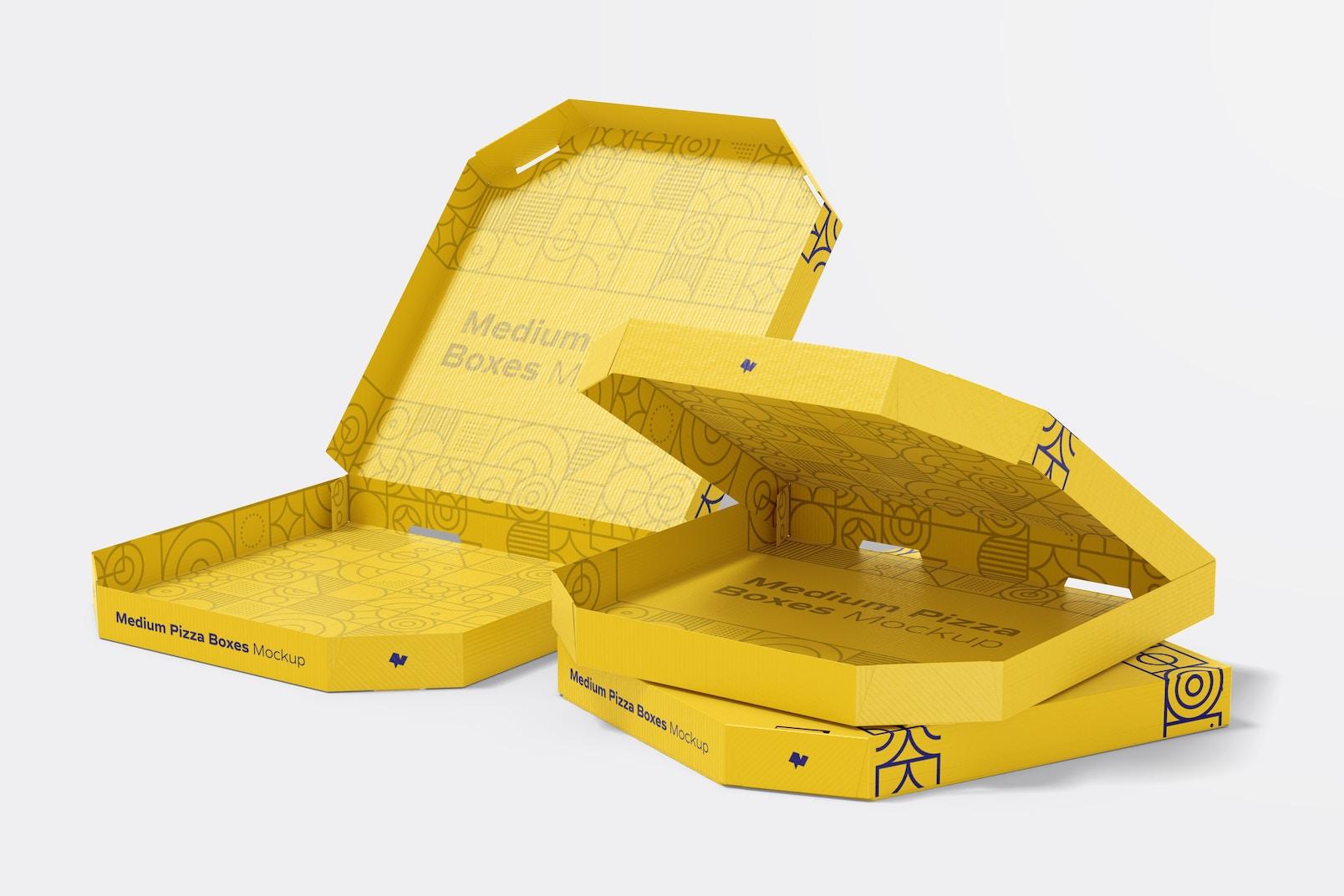 Medium Pizza Boxes Mockup