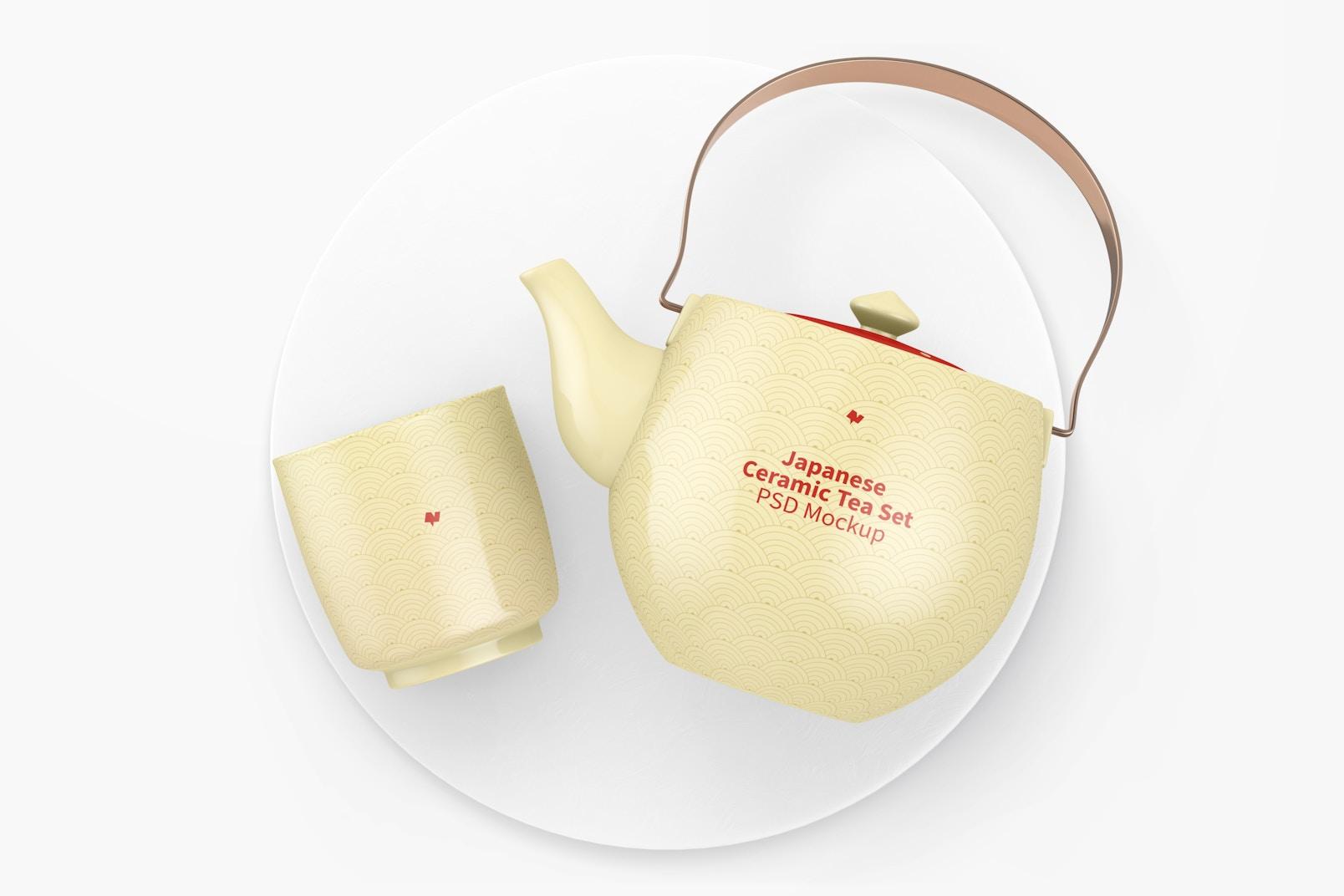 Japanese Ceramic Tea Set Mockup, Top View
