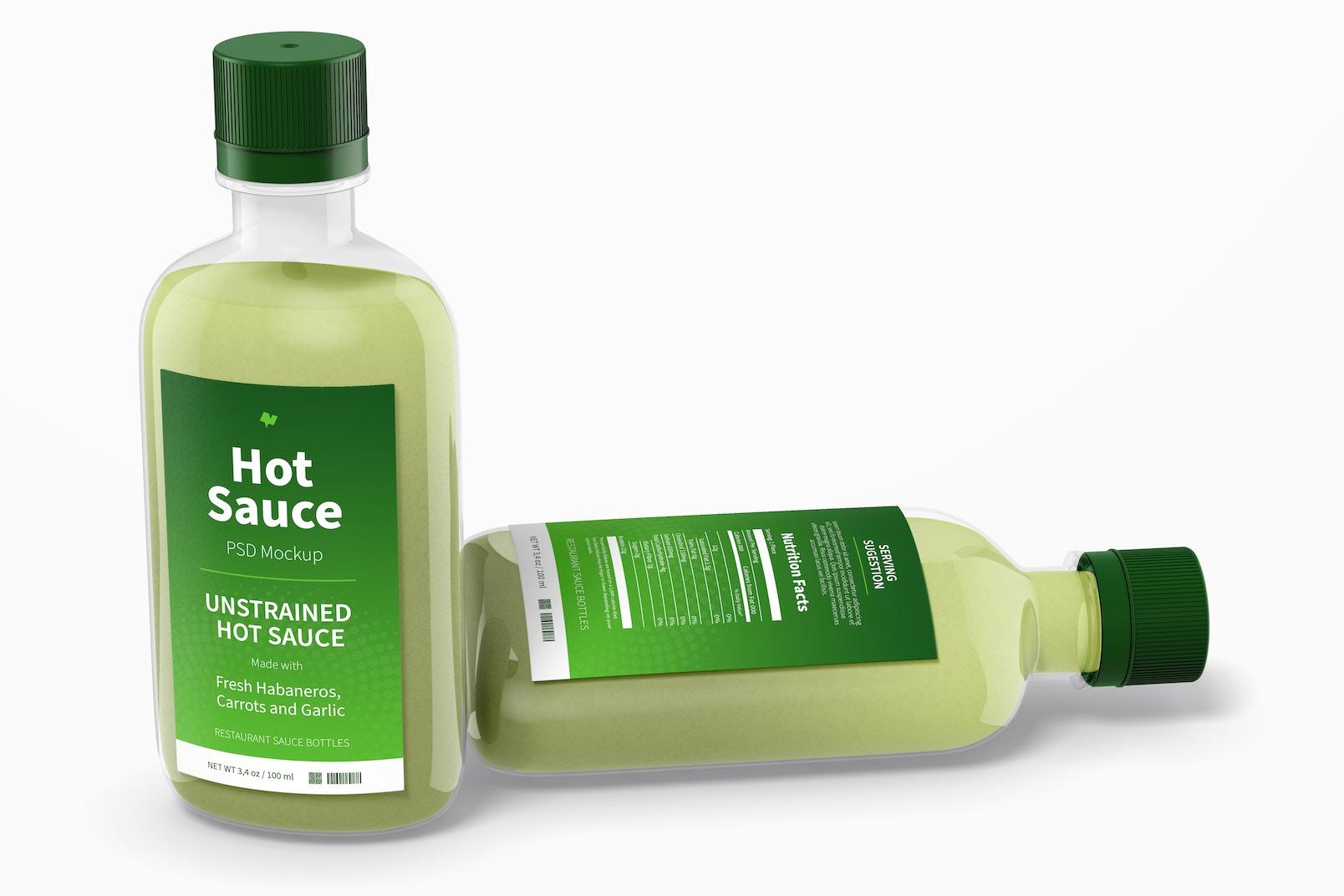 100 ml Hot Sauce Bottles Mockup, Dropped