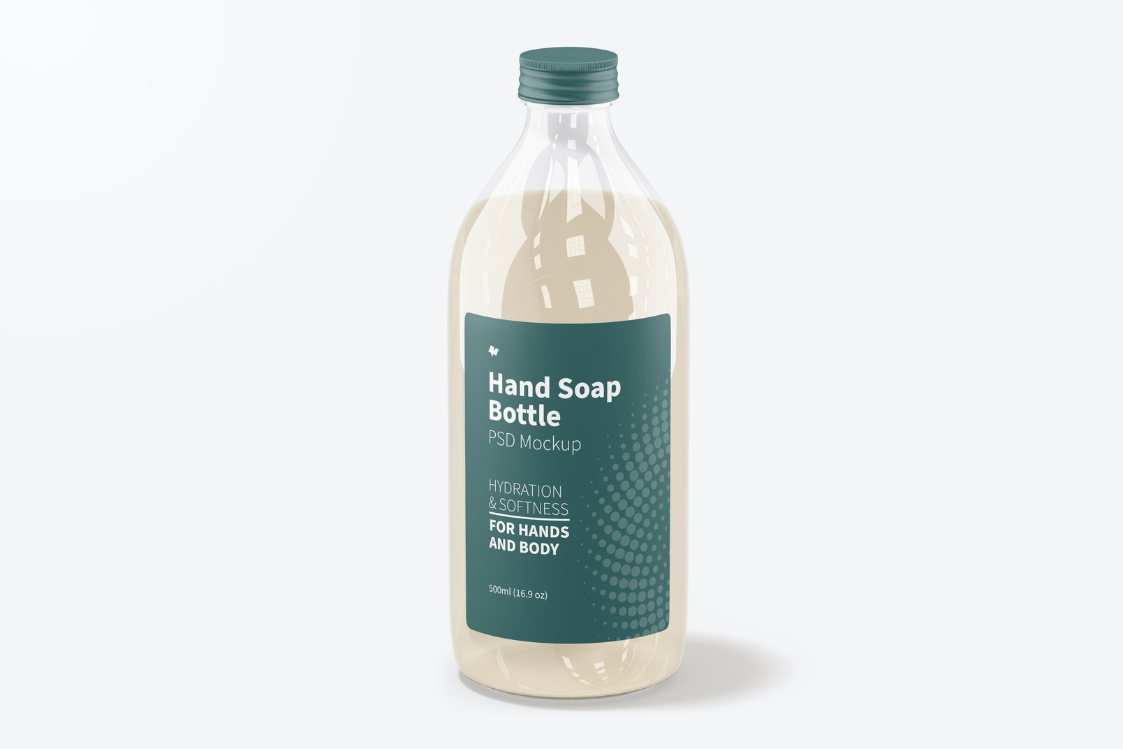 Hand Soap Clear Bottle Mockup, Front View