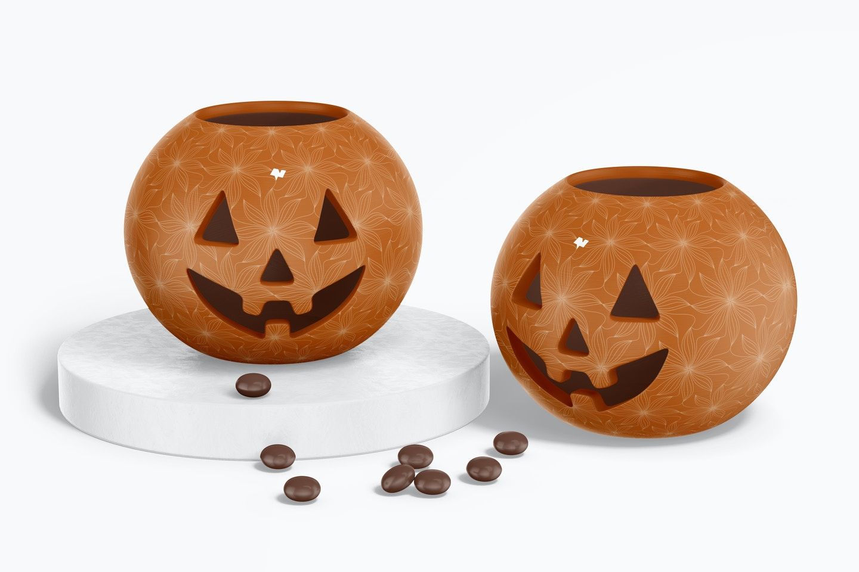 Ceramic Halloween Pumpkins Mockup, Up and Down