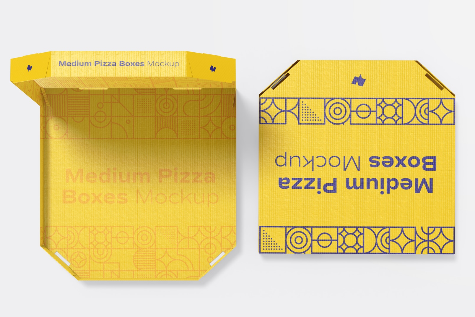 Medium Pizza Boxes Mockup, Opened and Closed