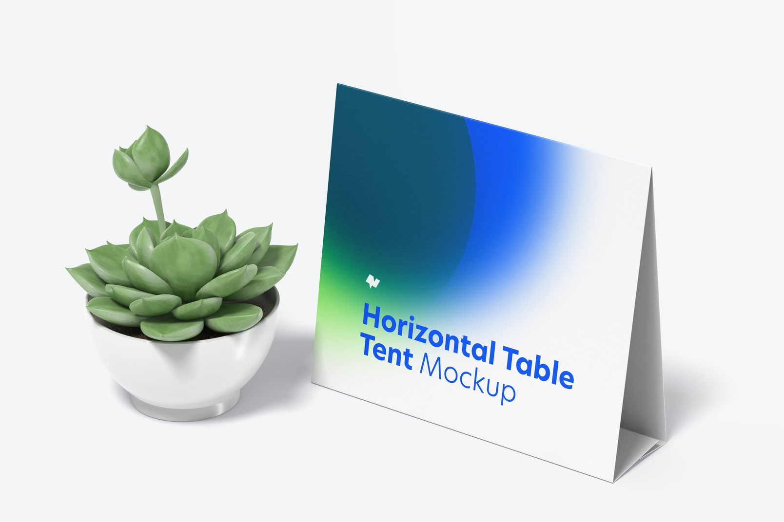 Horizontal Table Tent Card with Pot Plant Mockup