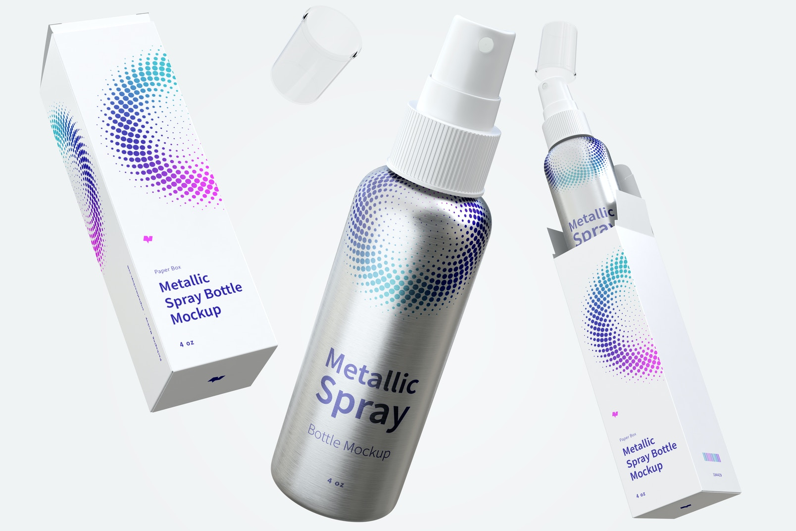4 oz Metallic Spray Bottles Mockup with Paper Boxes, Floating