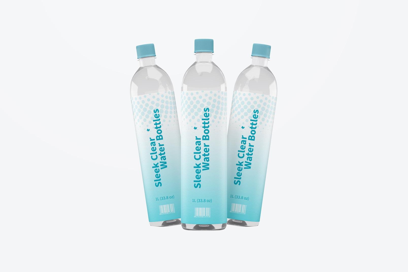 1L Sleek Clear Water Bottles Mockup