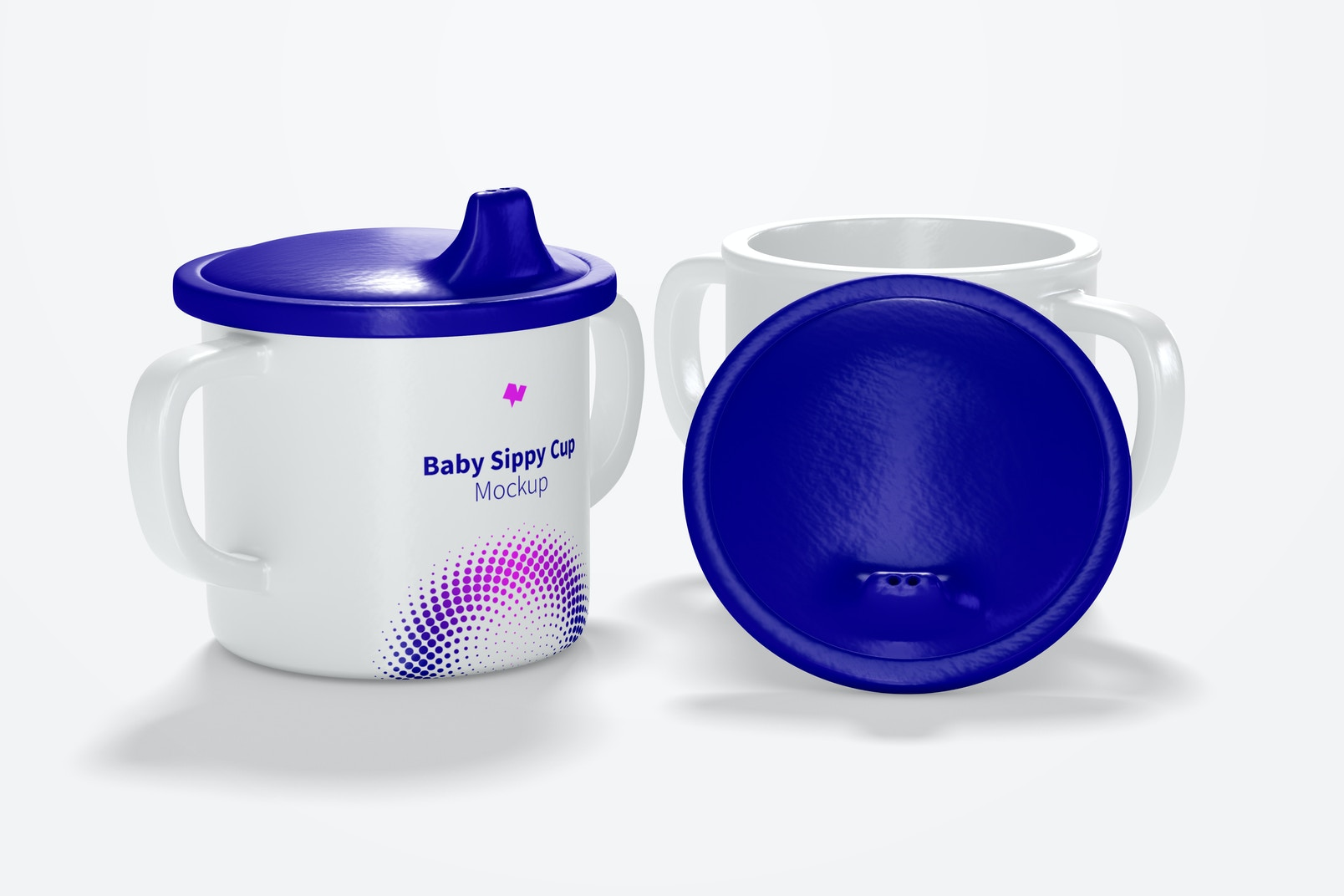 Baby Sippy Cup Mockup, Opened and Closed