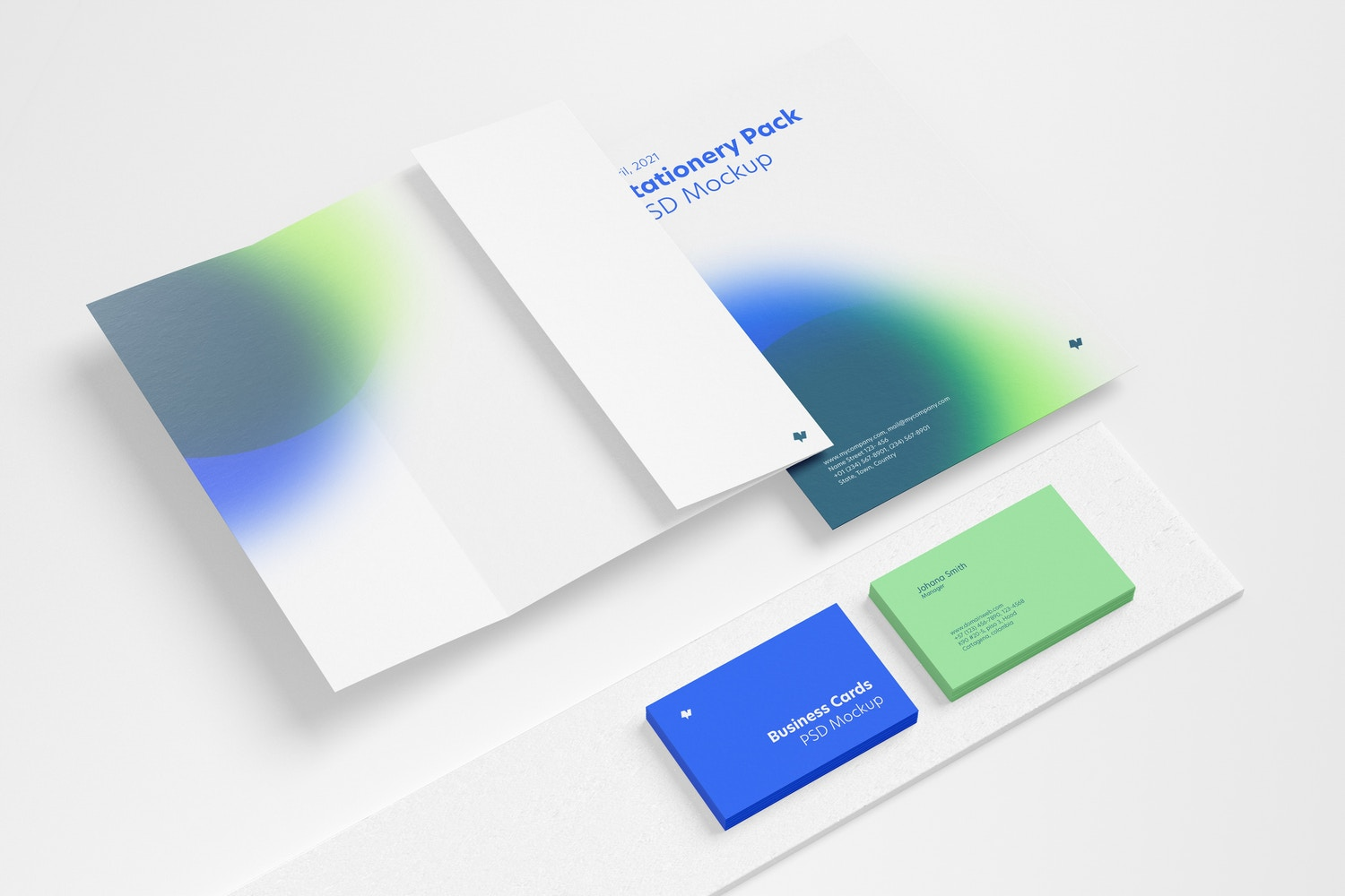 Stationery Scene Mockup, Perspective View