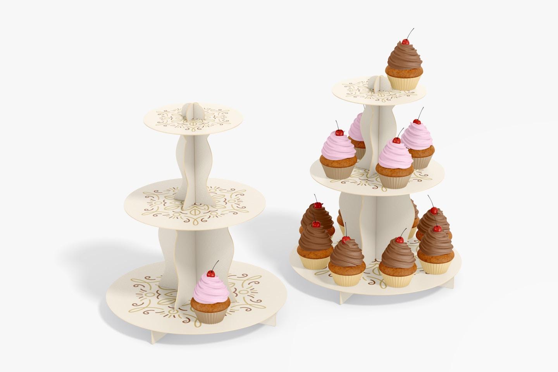 3-Tier Cardboard Cupcake Stands Mockup