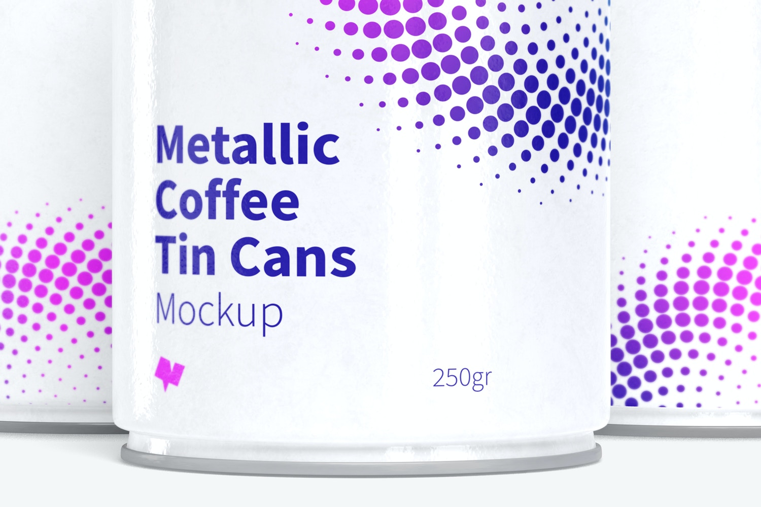 Metallic Coffee Tin Cans with Plastic Lids Mockup, Closed Set