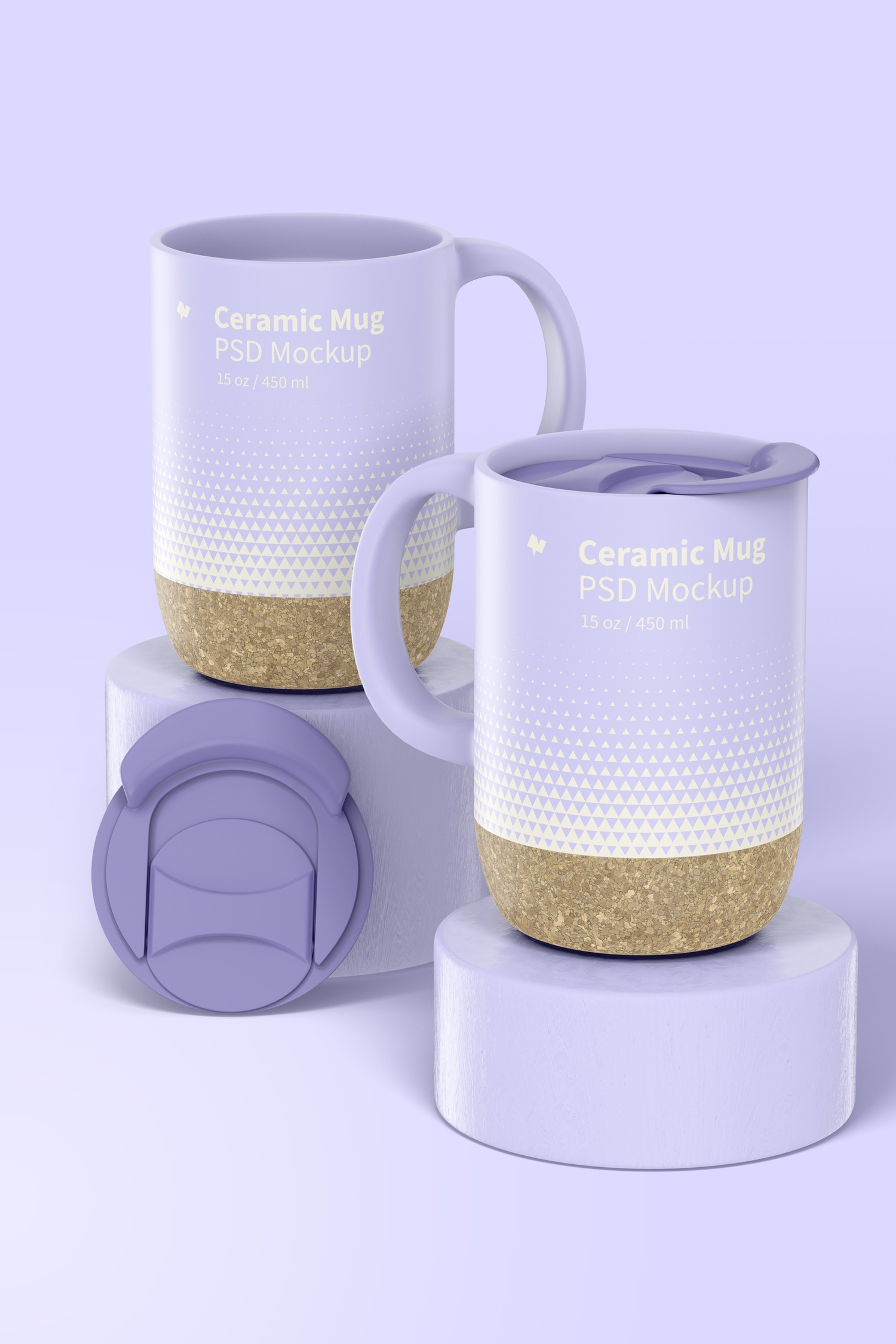 15 oz Ceramic Mugs with Lid Mockup