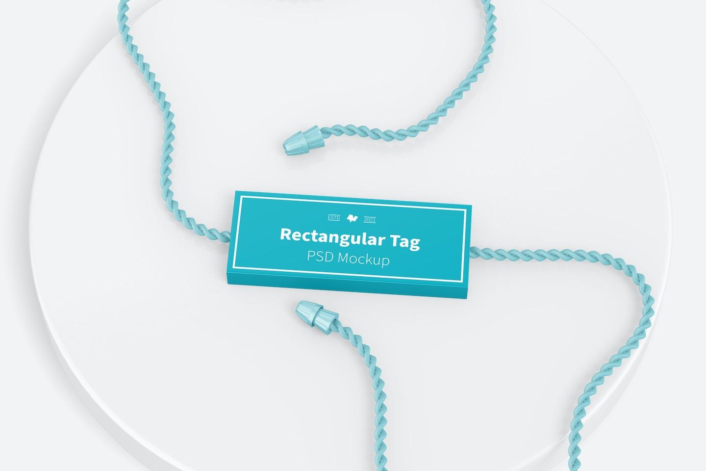 Rectangular Textile Tag Mockup, Top View